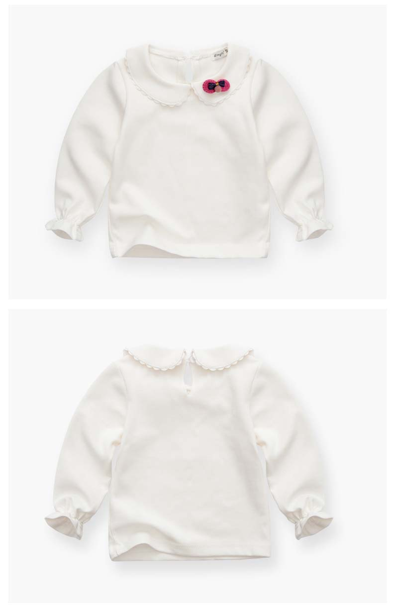 HTB1aaNRSpXXXXalXXXXq6xXFXXXh - Spring and Autumn Baby Girls White Sweatshirt Long-sleeve Blouse for Girl to School in 1-5 Years Kids Clothes with 3D Bow Brand