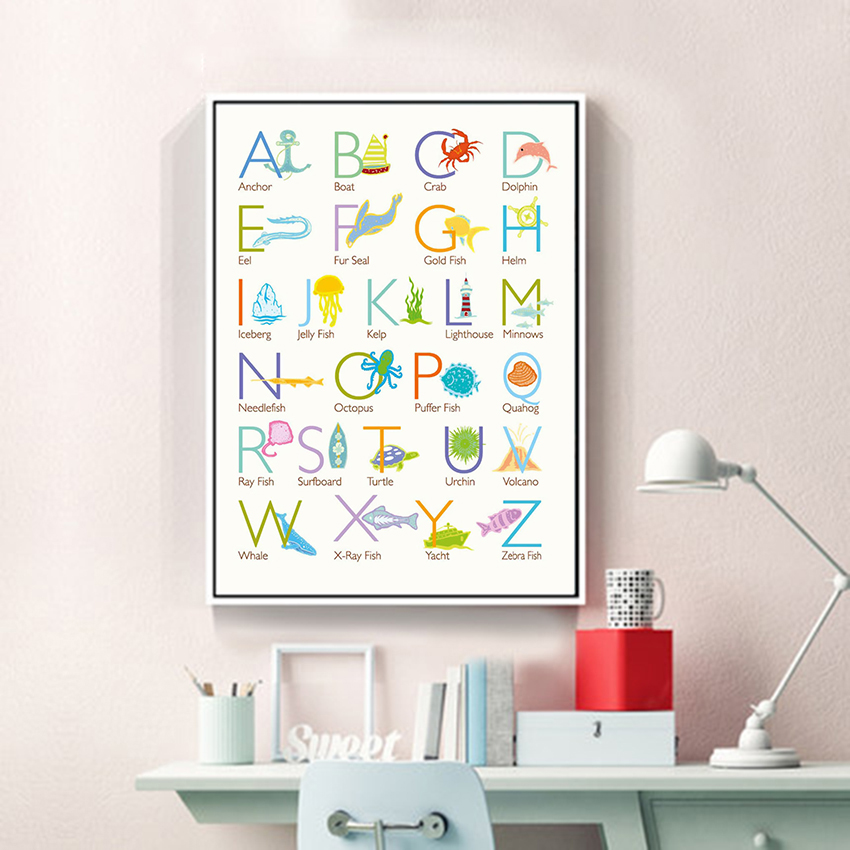Baby Nursery Art Print Dog Abc Nursery Decor Alphabet Print: Modern Colorful Cute Animal Alphabet Chart A4 Canvas Art