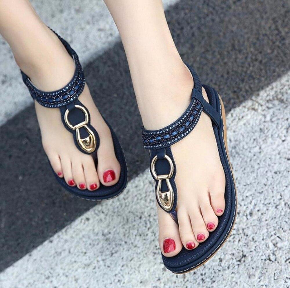 Wedge Sandals Rhinestone Shoes Women Comfortable Bohemia Casual Woman Beach Hot-Sales