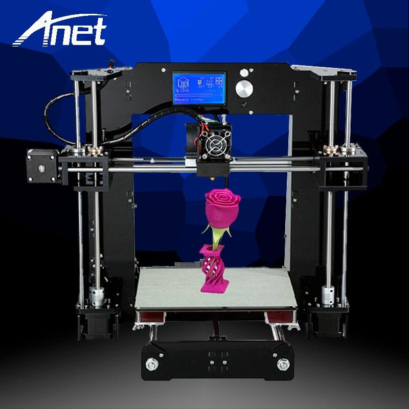 ANET Amélioré A6 3D Imprimante de Haute Qualité De Bureau Prusa i3 De Haute Précision Rouleau Kit Facile Assembler 16 gb SD carte LCD écran Chaude Lit