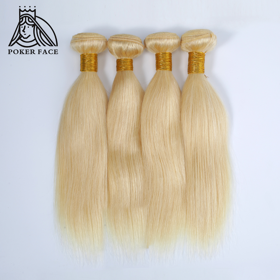 Poker Face Peruvian Straight Hair Bundles Weaves 4 Bundles 613 Blonde Color Remy Hair Extensions 100