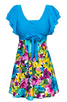 Women S Cut Slim Swim Floral Swimsuit One Piece Wrapped Chest Beach Swimwear Lake Blue
