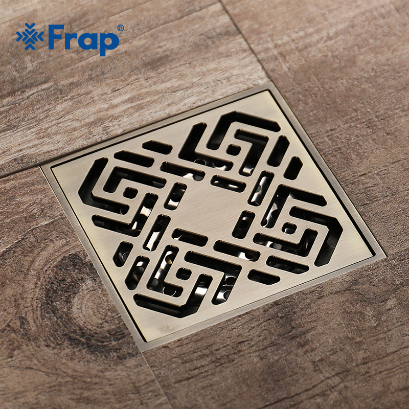 FRAP Newly Carving Pattern Grid Floor Drain Bathroom Shower Drain Bathroom Deodorant Drains Strainer Washroom AccessoriesY38062 thicken bathroom overlooking earth pattern waterproof shower curtain