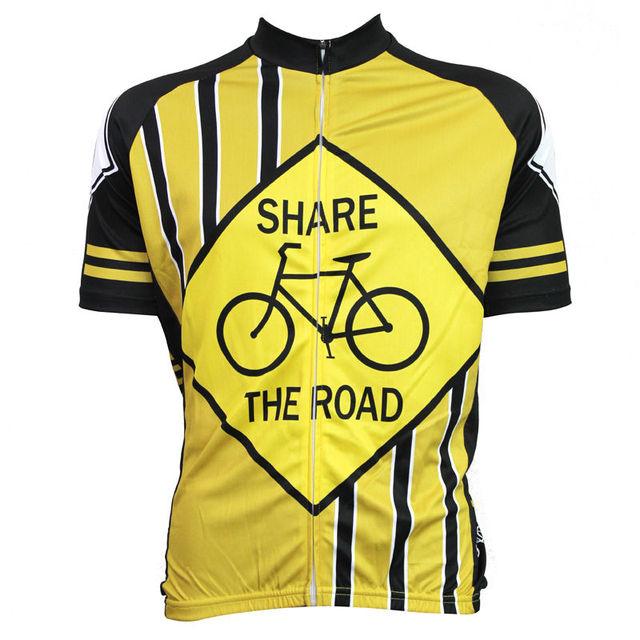 Alien SportsWear SHARE THE ROAD Pattern Men s Short Sleeve Bike Clothing  Yellow O-Neck Anti-sweat Cycling Jersey Size XS-5XL c65d904da