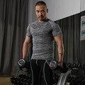 2016 de Compresión larguero singlete aparatos de ejercicios de fitness Camiseta de la camisa de tela de lycra es más fuerte Y camisas