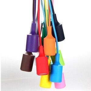 Image 4 - Nowoczesne kolorowe lampy wiszące jadalnia lampy wiszące krzemionka materiał żelowy trzynaście kolorów uchwyt E27