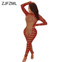 Mesh Patchwork Luxury Jumpsuits For Women High Necked Glitter Rhinestones Birthday Party Romper Sexy Long Sleeve Bodycon Overall