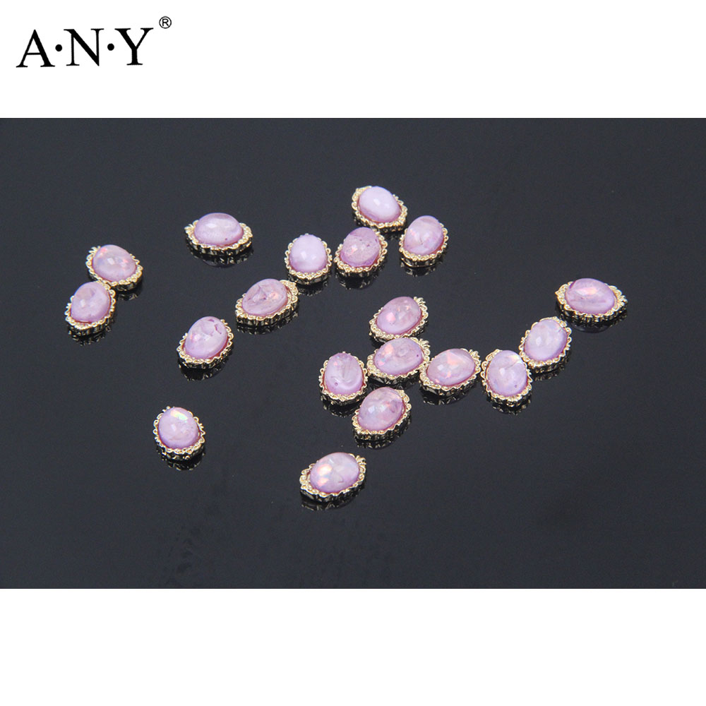 ANY 20 pcs/ pack Oval Gold Nail Alloy Rhinestone Decarations 3D Oval Gold White Pearl Nail Beauty Art Accessories Nail Tool