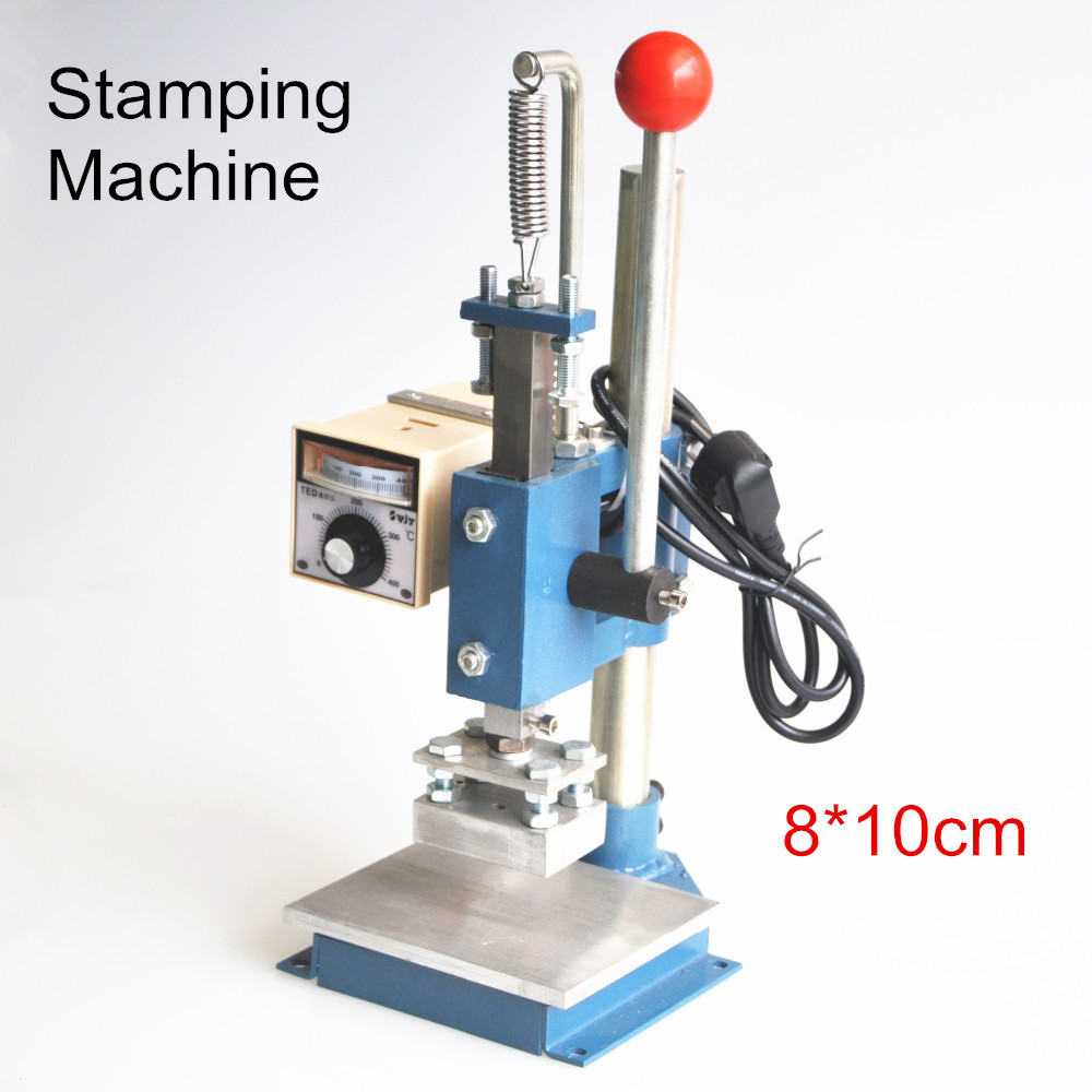 1Set Manual hot foil stamping machine foil stamper leather printer marking press embossing machine 8x10cm 220V цена