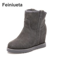 Nuova canna corta in pelle opaca all'ingrosso della fabbrica inverno caldo pendenza con l'aumento stivali da neve donna stivaletti scarpe da donna