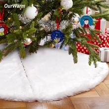 Luxurious White Christmas Tree Skirts Fur Carpet Merry Decoration for Home Noel Natal New Year Decor