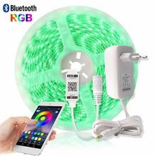 Bluetooth Светодиодная лента 5050 RGB 5 м Водонепроницаемая Диодная лента ТВ светящиеся полосы контроллер светодиодный блок питания 12 В украшение салон ПК