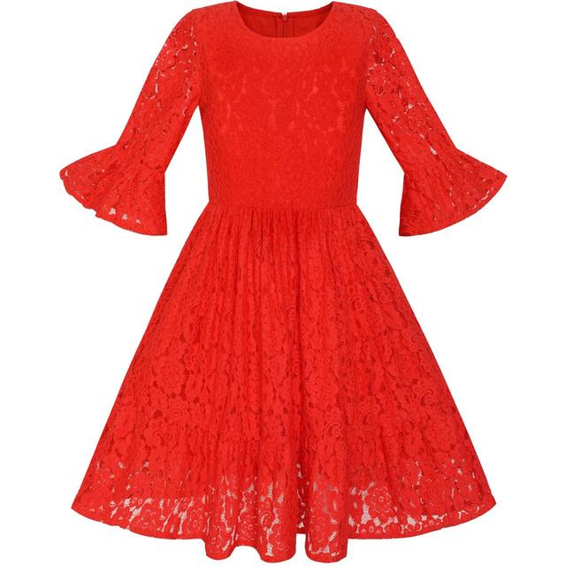 f6a10ad084f Flower Girl Dress Red Bell Sleeve Lace Ruffle Holiday Dress 2018 Summer Princess  Wedding Party Size 5-12