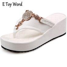 E игрушки слово сандалии женские босоножки на платформе Сандалии со стразами женские Сандалии пляжная обувь Тапочки белый черный Размеры 42, 43