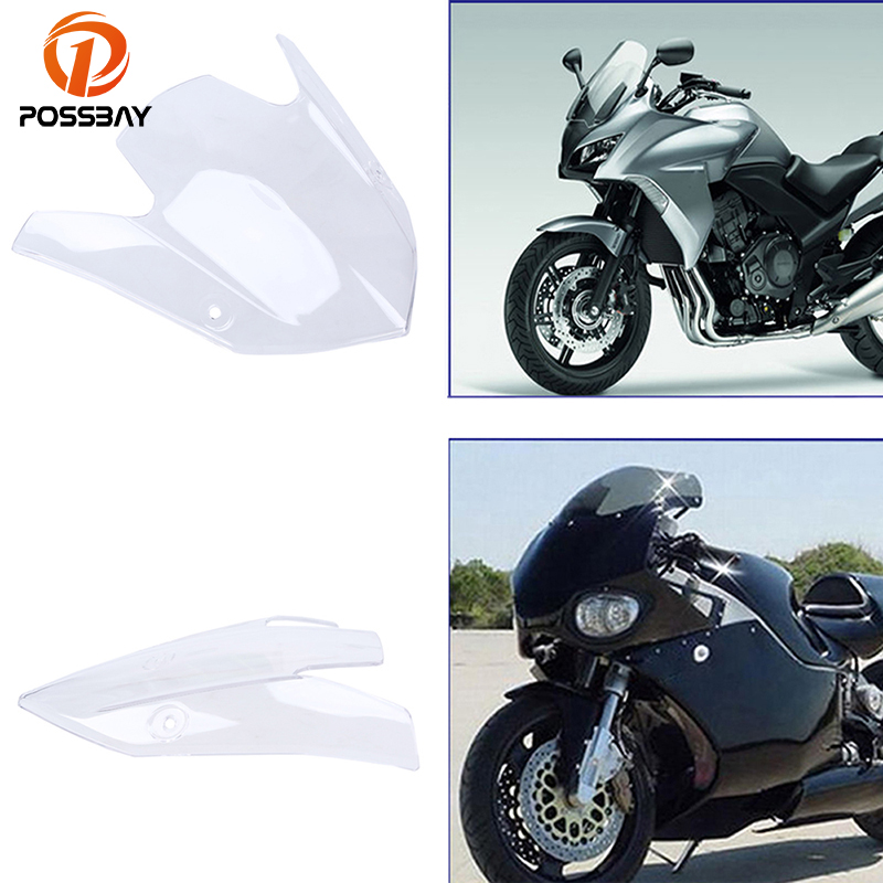 POSSBAY ABS Motorcycle Windshield Windscreen Protectors Dirt Bike Accessories Clear Fit For Kawasaki Z1000 2015-2016