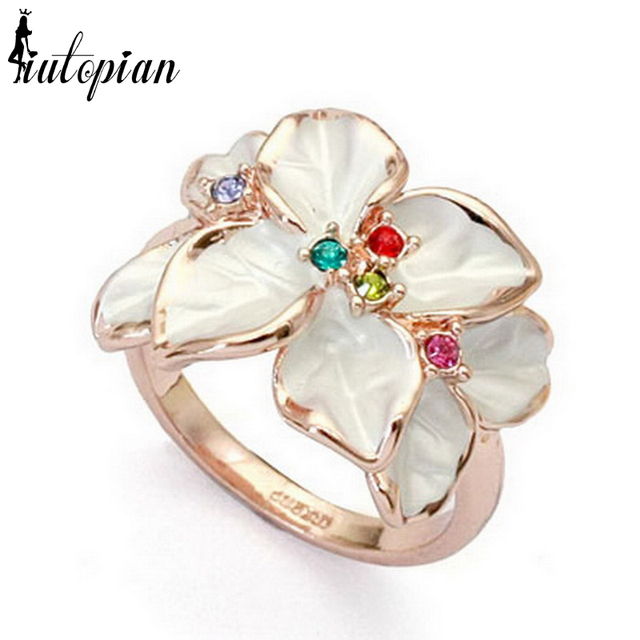 Iutopian Flower Series Rings for women/fashion jewelry flower With Austrian Crystal Stellux #RG95676