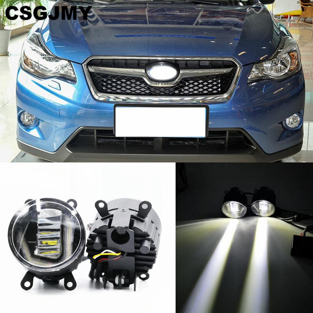 CSGJMY 3-IN-1 Functions Auto LED DRL Daytime Running Light Car Projector Fog Lamp With Yellow Signal For Subaru XV 2012-2018