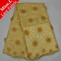 2017 Hot Sales African French Lace Fabric With stones Beaded Embroidery Sunflower yellow Nigerian Laces For wedding decoration