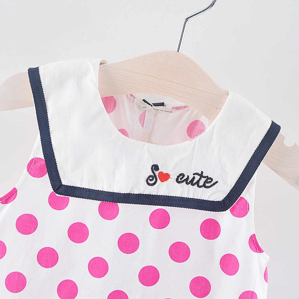 Детское платье без рукавов с оборками и рисунком в горошек для маленьких девочек Детские платья для девочек vestido infantil Shein