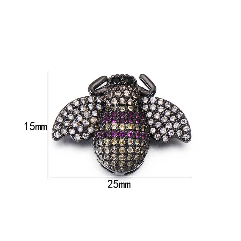 Pipitree Tinh Tế Đầy Đủ Đa Cubic Zirconia Insect Moth Charms Hạt đối với Trang Sức Làm Quyến Rũ DIY Vòng Tay Spacer Hạt 15x25 mét
