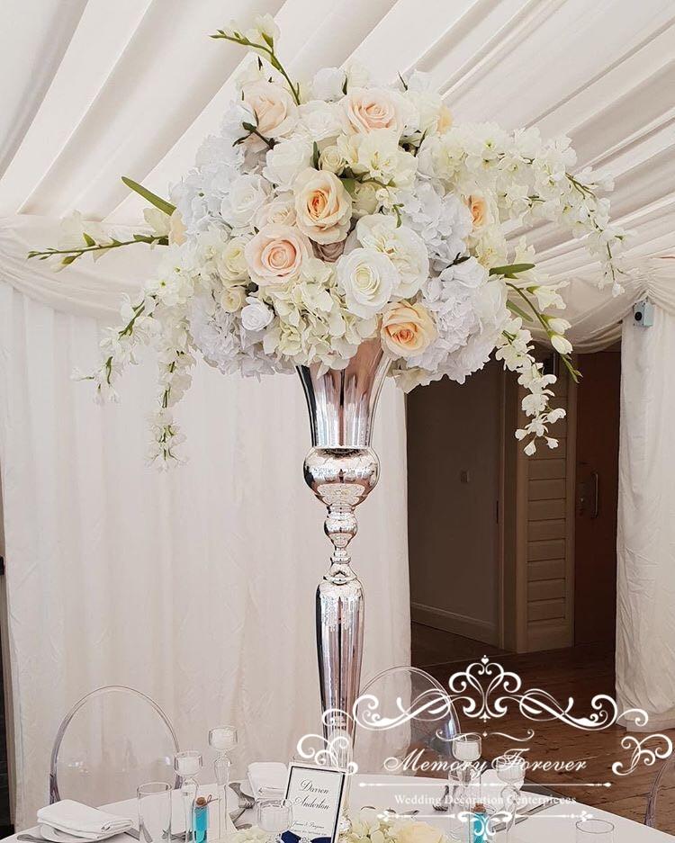 80cm Tall Wedding Flower Vase Metal Trumpet Vase For: Tall Wedding Flower Vase Metal Gold Silver White Trumpet