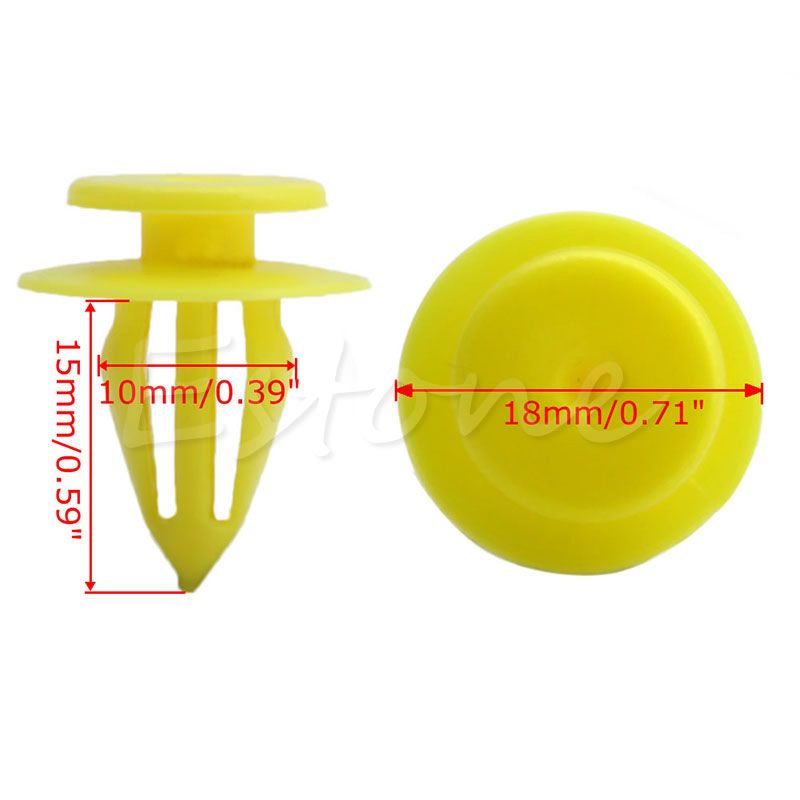 20 Pcs 10mm Hole Plastic Rivets Car Auto Bumper Fender Trim Panel Clip Yellow for Volkswagen