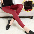 Autumn Winter warm pants women thick Imitation Leather Women Leggings Mid-waist Stretch Pencil Lady Leggins Smooth Warm leggings