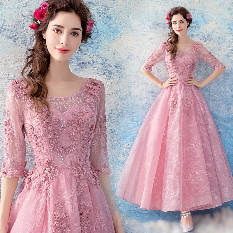 2018 new stock plus size women pregnant   bridesmaid     dresses   wedding party A line lace backless sexy romantic cheap pink   dress