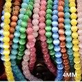 Olho De Gato Pedra Natural Pedra Redonda Contas Loose Opalas Chatoyant pedra 16 cores fornecimento de bola De Vidro 4 MM de Jóias pulseira DIY