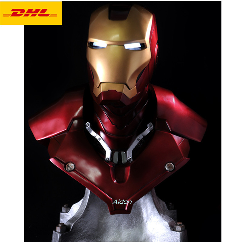 "21"" Statue Avengers Iron Man Tony Stark 1:1 MK3 Head Portrait With LED Light GK Action Figure Collectible Model Toy 54CM B460"