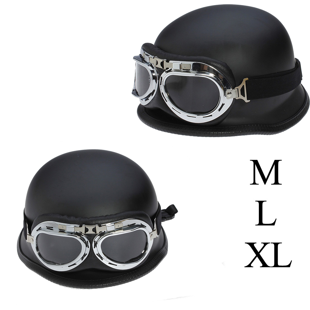 Unisex DOT Retro Motorcycle Helmets Matte Black German Half Face Helmet Chopper Cruiser Biker WWII vintage Helmet M/L/XL warmaster wm tk0040 1 72 wwii german opel half track troop truck fm