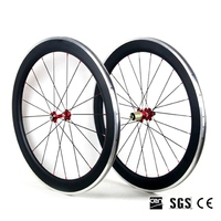 Catazer 700C 23mm Wide 50mm Clincher Road Bicycle Full Carbon Depth Wheelset With Alloy Aluminum Brake