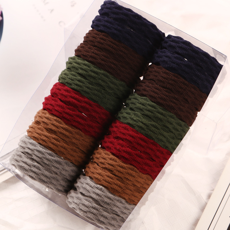 24pcs/lot Women Multi Colors Thick Stretch Elastic Hair Bands Basic Quality Solid Color Rubber Polyester Ties