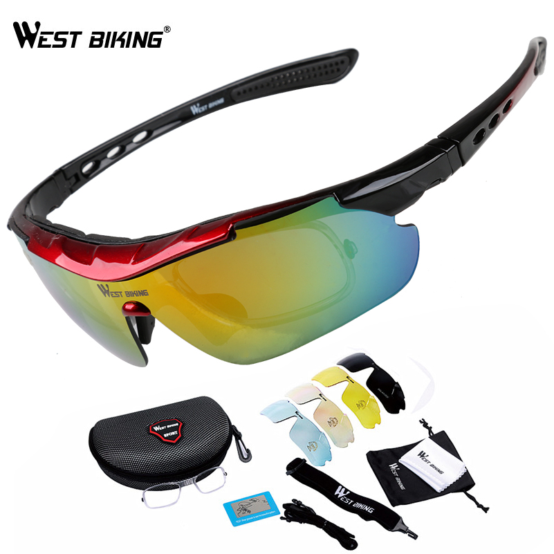 WEST BIKING 5 Lenses Cycling Glasses Mypia Frame Men Women Polarized Bike Eyewear Bicycle Goggles Outdoor Sports Bicycle Glasses