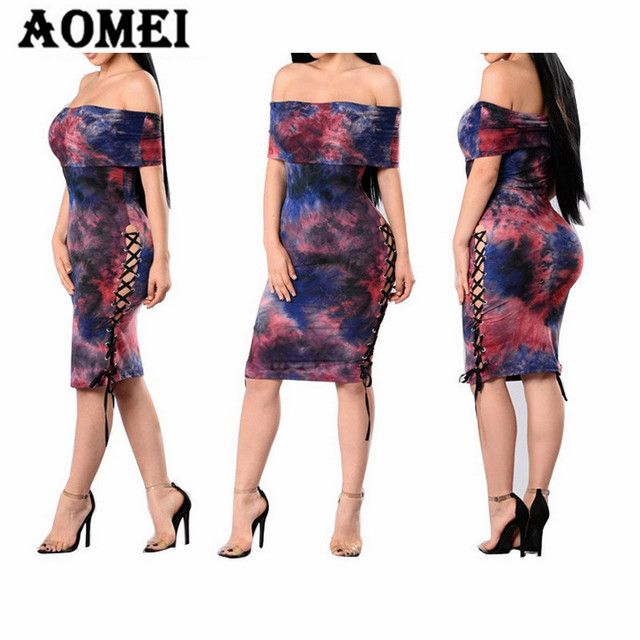 Women Print Tube Sheath Dress Off Shoulder Sexy Hollow Out Night Evening  Party Tight Club Wear Lace Up Tight Clothes Robe Summer 871413f9f21a