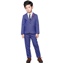Brand Boys Blazer Pants Suit Set 2pcs Kids Formal Plaid Wedding Suit Children England Style Birthday Performance Costume(China)