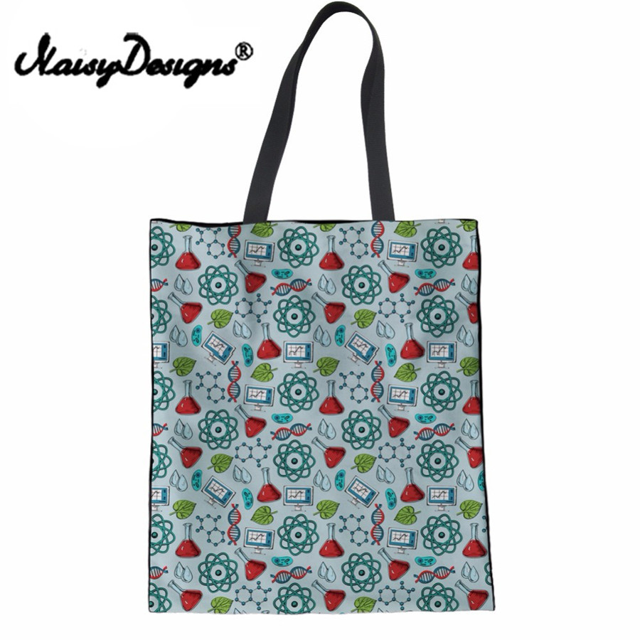 NoisyDesigns Eco-friendly Canvas Cotton Mom Shopping Bag Science Research Printing Top Handbag Shoulder Daily Use Large Tote Bag ...