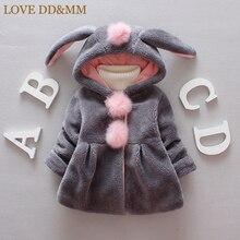 Куртка для девочек с надписью «LOVE DD& MM», новинка года, зимняя детская одежда, милое плотное пальто с капюшоном и длинными рукавами для девочек с мультяшными помпонами и заячьими ушками