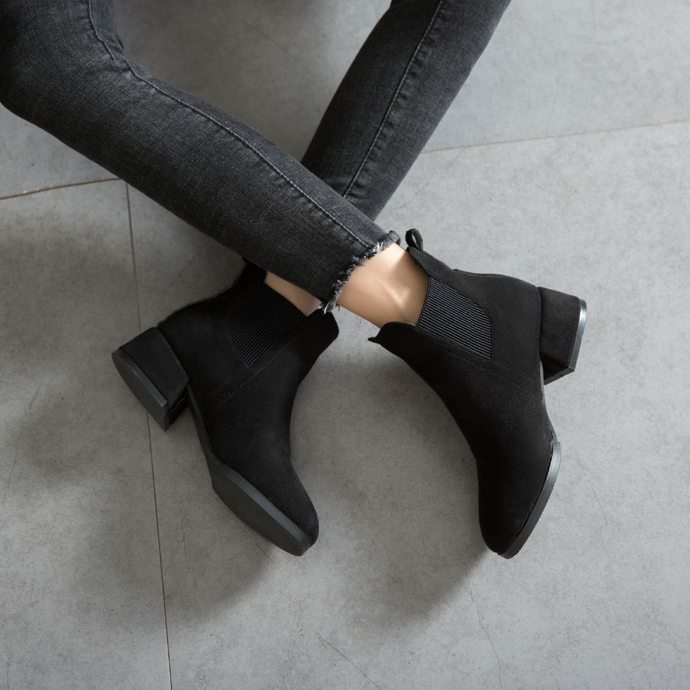 GOXPACER Shoes Women Heel Chelsea-Boots Elastic-Band Comfortable Autumn Winter Fashion