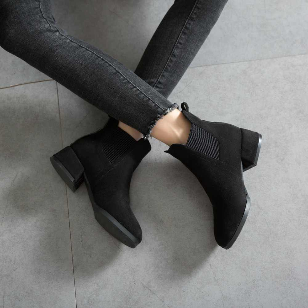 GOXPACER Autumn Winter Hot Sell Shoes Women Chelsea Boots Women Elastic Band Mid Heel All Match Comfortable Fashion Ankle Shoes