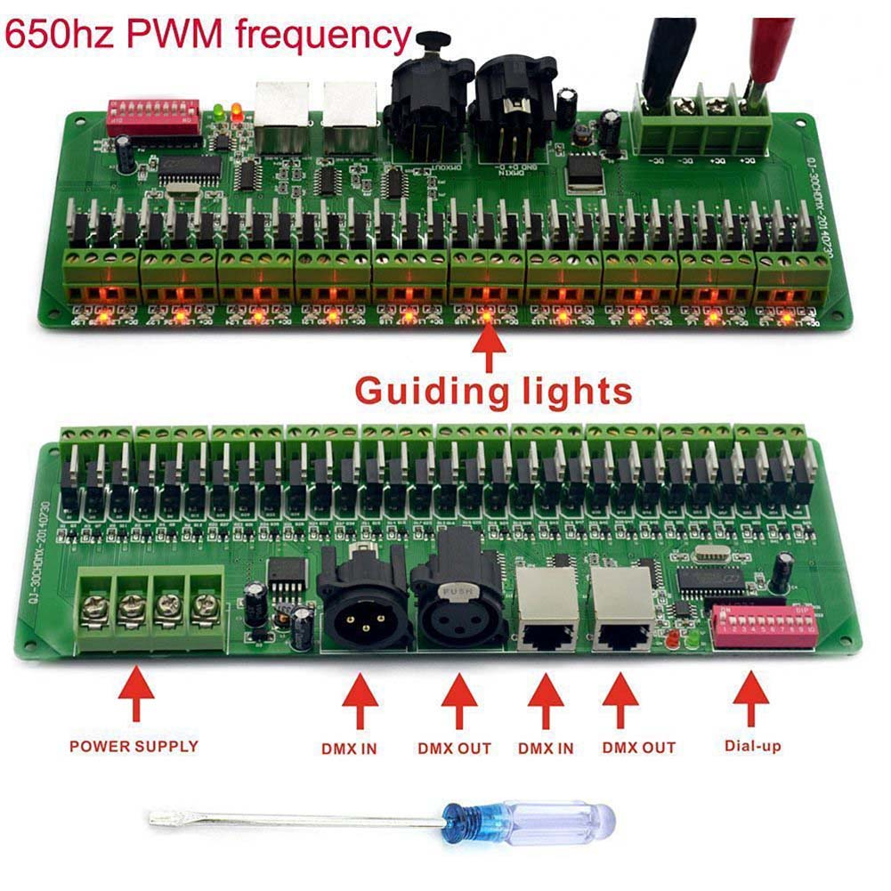DMX 512 RGB LED Strip Controller 30 Channel  DMX Decoder LED DMX Dimmer Driver DC 9V-24V ALI88 24ch 24channel easy dmx512 dmx decoder led dimmer controller dc5v 24v each channel max 3a 8 groups rgb controller iron case