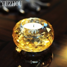 Fashion Crystal Glass Small Candle Holder Aromatherapy Candlestick Romantic Proposal Candlelight Dinner Props Small Candlestick