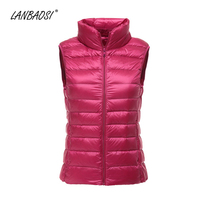 LANBAOSI Packable Ultralight Down Vest for Women Autumn Winter Windproof Lightweight White Duck Puffer Waistcoat Female Clothing