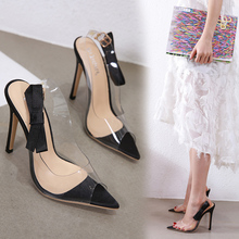 Liren 2019 Summer Fashion Sexy Bow Decoration Buckle Sandals Fish Mouth Open Toe Transparent Strap High Heels Sandals Lady Party