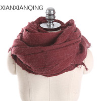 XIANXIANQING Fashion Women Winter Solid Warm Scarf Lady Shawls Couple Lover Capes Solid Poncho Street Blanke