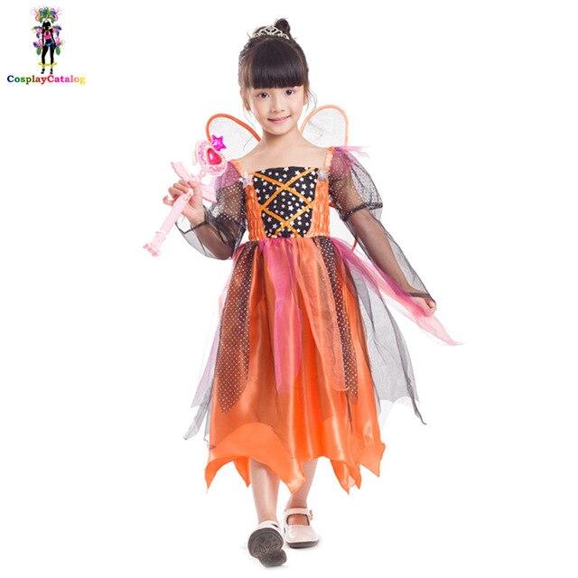 halloween girl 5 10 years pumpkin fairy costumesamusement park themed party dresses for