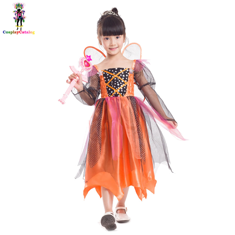 Halloween Girl 5 10 Years Pumpkin Fairy Costumes,Amusement Park Themed Party Dresses For Kids,Carnival Children Angel Costumes