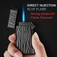 New Arrival 3 style Windproof Direct impact Blue Flame Cigar lighter inflatable Personality Pattern Refillable Butane lighter blue and white porcelain pattern windproof blue flame butane lighter white blue