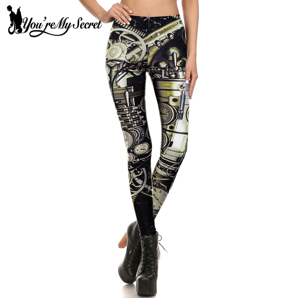 [You're My Secret] Mechanical Dial Workout Steampunk Leggings Women 3D Printing Summer Gear Slim Women Lady Sexy Leggins Pants