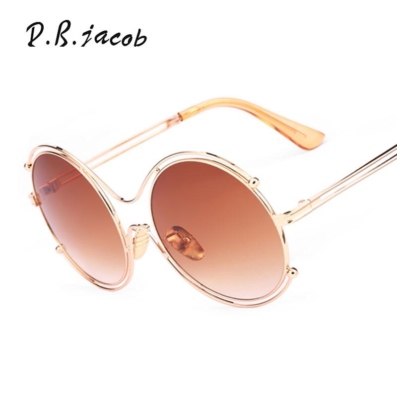 Oversized Luxury Clear Optics sunglasses Round Brand designer UV400 Mirror Lady Sun Glasses Frame Male Female Metal Frame